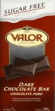 "Valor Spanish Chocolate - Dark Chocolate ""Sugar Free"", 100g/3.5oz."