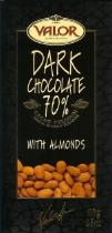 Valor Spanish Chocolate - Dark Chocolate with Almonds, 70% Cocoa, 100g/3.5oz. (17 Pack)