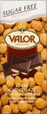 "Valor Spanish Chocolate - Dark Chocolate with Almonds ""Sugar Free"", 150g/5.29oz."
