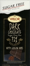 Valor Sugar Free 70% Dark Chocolate Bars - 100g/3.5oz
