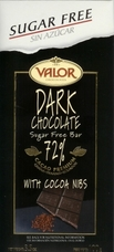 "Valor Spanish Chocolate - Dark Chocolate with Cocoa Nibs ""Sugar Free"", 72% Cocoa, 100g/3.5oz."