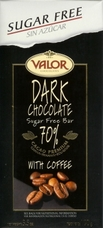 "Valor Spanish Chocolate - Dark Chocolate with Coffee ""Sugar Free"", 70% Cocoa, 100g/3.5oz."