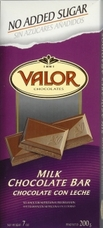 "Valor Spanish Chocolate - Milk Chocolate ""No Sugar Added"", 100g/3.5oz"