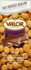 "Valor Spanish Chocolate - Milk Chocolate with Almonds ""No Sugar Added"", 150g/5.29oz"