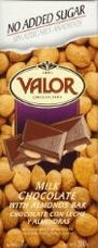 "Valor Spanish Chocolate - Milk Chocolate with Almonds ""No Sugar Added"", 150g/5.29oz."