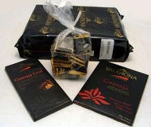 Valrhona Chocolate GUANAJA Sampler - Grand Cru Guanaja BLOCK 70% Cocoa, 1kg/2.2lb; Guanaja Grue Dark Chocolate BAR, 100g/3.5oz; Guanaja Dark Chocolate BAR, 70g/2.46oz; Degustation Grand Crus 50 Squares BAG.