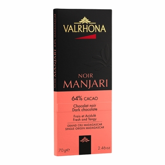 "Valrhona French Chocolate - Dark Chocolate "" Manjari - Madagascar"", 64% Cocoa, 70g/2.46oz. (20 Pack)"