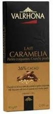 Valrhona French Chocolate - Milk Chocolate with hints of Caramel and Crunchy Pearls Lait Caramelia 36% Cocoa Bar, 85g/2.99oz.