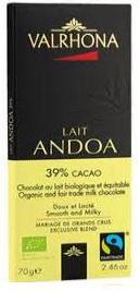 Valrhona French Chocolate -Organic and Fair Trade Milk Chocolate Lait Andoa 39% Cocoa Bar, 70g/2.46oz.