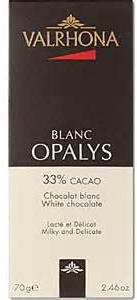 Valrhona French Chocolate -White Chocolate Blanc Opalys 33% Cocoa Bar, 5 Bar Pack