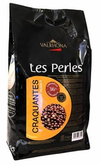"""Valrhona """"Les Perles Craquantes"""" Crunchy Cereal Pearls Coated in Milk Chocolate, Caramel Flavored, 36% Cocoa, 3kg./6.6lb."""