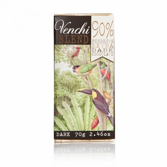 Venchi Blend Chocolate - 90% Fondente Extra Dark Chocolate 90% Cocoa, 70g/2.46oz. (Single)