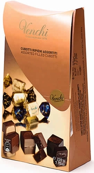 """Venchi Chocolate - """"Assorted Filled Cubotti"""" - Milk and Dark Chocolate Filled with Cream, 7.75oz/220g. (Single)"""
