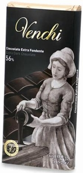 "Venchi Chocolate - ""Cioccolato Extra Fondente"" Extra Dark Chocolate Bar, 56% Cocoa, 45g/1.58oz. (Single)"