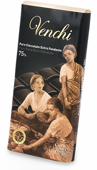 "Venchi Italian Chocolate - ""Cuor di Cacao"" Bittersweet Bar, 75% Cocoa, 100g/3.5oz. (5 Pack)"