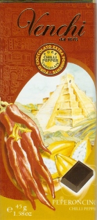 """Venchi Italian Chocolate - """"Pepperoncino"""" Dark Chocolate with Chilli Peppers, 75% Cocoa, 45g/1.58oz. (5 Pack)"""