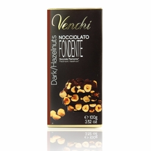 Venchi Italian Chocolate - Pure Dark Chocolate with Piedmont Hazelnuts I.G.P., 56% Cocoa, 100g/3.5oz. (5 Pack)