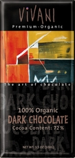 Vivani Organic Chocolate - 100% Organic Dark Chocolate with 72% Cocoa, 100g/3.5oz (10 Pack).