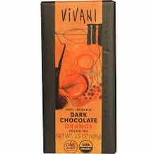 "Vivani Organic Chocolate - 100% Organic Dark Chocolate with ""Orange Flavor"", 70% Cocoa, 100g/3.5oz (10 Pack)."