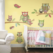 Kids Wall Decals-Animals-Modern Owl-Three Colors