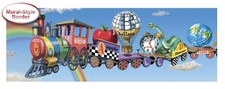 Kids WIDE Alphabet Train Wallpaper Border