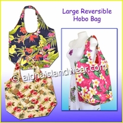 Large Hawaiian Print Reversible Hobo Bag