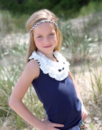 A Little Posh NAVY & White Ruffle Tank Top
