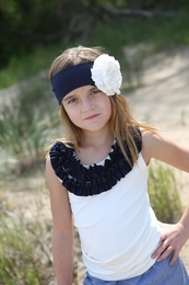 A Little Posh WHITE with Navy Ruffle Tank Top