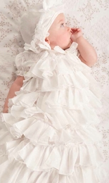 Baby Biscotti Antique White Voile Gown with Beautiful Bonnet
