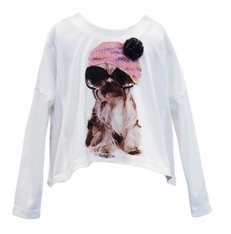 Baby Sara Adorable Ivory Puppy Top