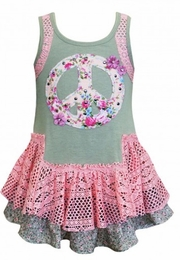Baby Sara Drop Waist Peace Sign Dress with Lace Overlay