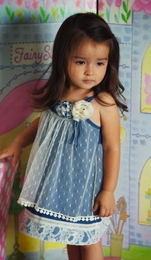 "Baby Sara Ivory and Blue Lacy ""Cowgirl"" Dress<br>Size 5 - 6X"