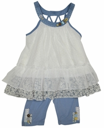 "Baby Sara White & Chambray ""Cham Bob"" Swing Top and Cropped Leggings Set<br>Sizes 5 & 6"