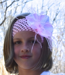 "Beautiful Pink ""Silver Bells"" Giggle Moon Waffle Stretch Headband with Large Flower *FINAL SALE*"