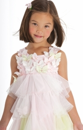 "Biscotti ""Bella Butterfly"" Gorgeous Spring Pastel Netting Petals Dress<br> Sizes 2-10"