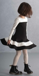 "Biscotti Black & Ivory ""Venus & Mars"" Drop Waist Twirling Dress"