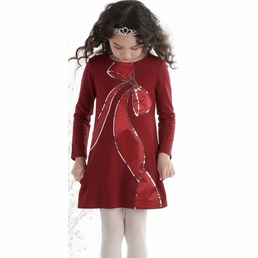 """Biscotti """"Bow Perfection"""" HOLIDAY Red A Line Sequin Special Ocassion Dress *FINAL SALE* SIZE 4"""