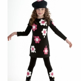 """Biscotti """"Bright Accent"""" KNIT TODDLER A Line Flowers Dress *FINAL SALE*"""