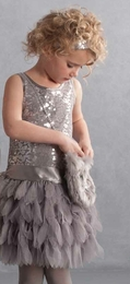 "Biscotti ""Deck the Halls"" Fanciful Holiday Silver Party Dress ""PREORDER"""