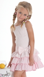 "Biscotti ""Eyelet Blush"" Pretty in Pink Ruffle Drop Waist Dress<br> Sizes 4-10"