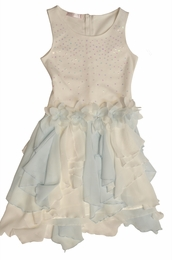 "Biscotti ""Flirt Alert"" Lovely Blue and White Flower Princess Dress<br>Sizes 4-7"