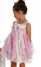 "Biscotti ""Flirt Alert"" Lovely Pink and White Flower Princess Dress<br>Sizes 2T - 6X"