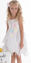 "Biscotti ""Flower Girl"" White Twirling Sleeveless Dress<br>Sizes 12M -7"