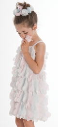 "Biscotti Precious ""Origami Garden"" Multicolored Ruffle Flowers Summer Dress<br>Sizes 7-10"