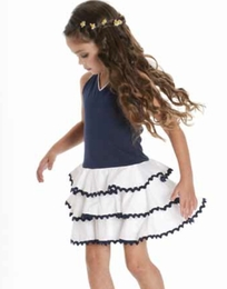 "Biscotti ""Ric Rac Rhumba"" Navy & White Halter Dress"