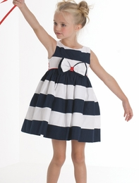 "Biscotti ""She's Got Stripes"" Classic Nautical Navy & White Stripe Dress<br> Sizes 4-10"