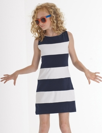"Biscotti ""She's Got Stripes"" Classy Navy and White Stripe Knit Shift Dress<br> Sizes 7-16"