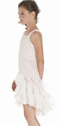 "Biscotti ""Sheer Bliss"" Stunning Lacy Ivory & Pink Hi Lo Party Dress"