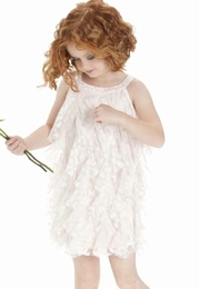 "Biscotti ""Sheer Bliss"" Ivory & Pink Ruffle Dress"
