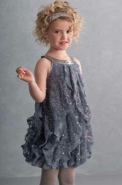 "Biscotti Stunning ""Shining Through"" Grey Dress w/Cascading Ruffles"